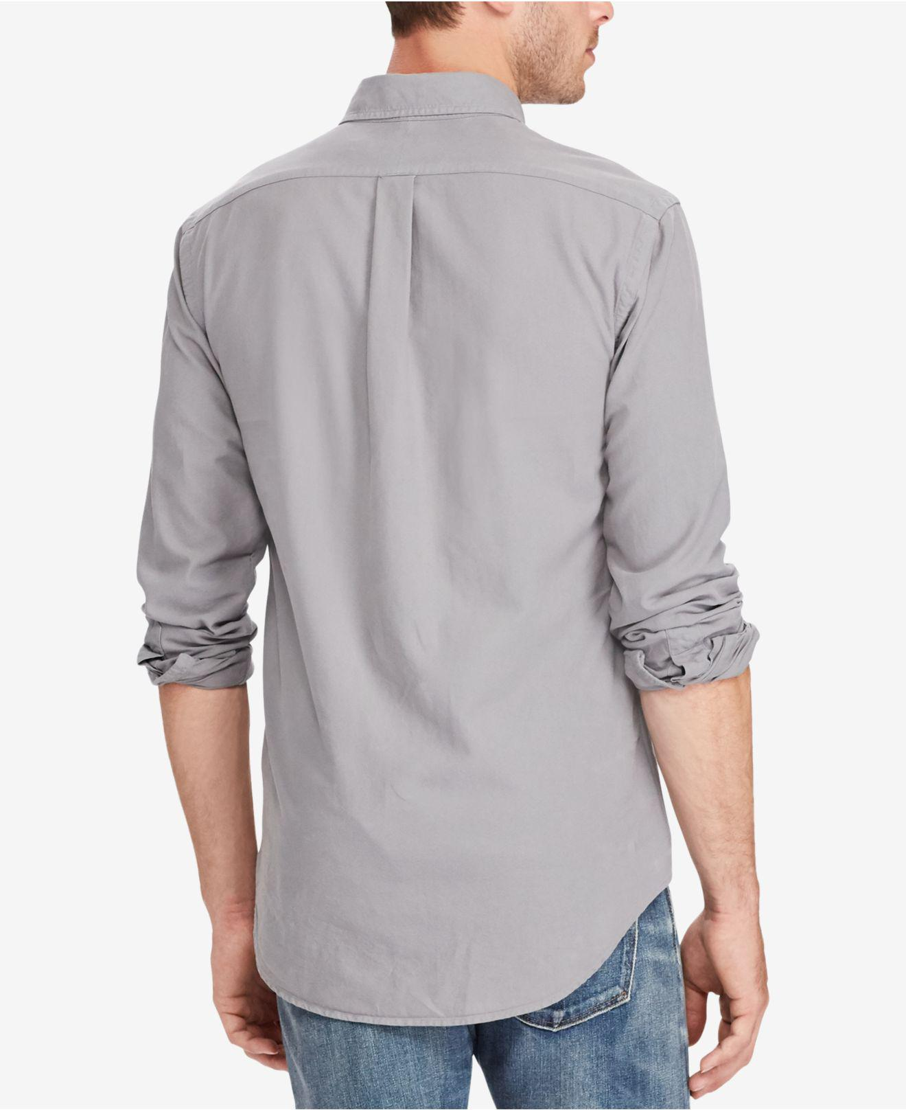 c345d28af ... switzerland clearance lyst polo ralph lauren classic fit cotton shirt  in gray for men b97e7 3ef87