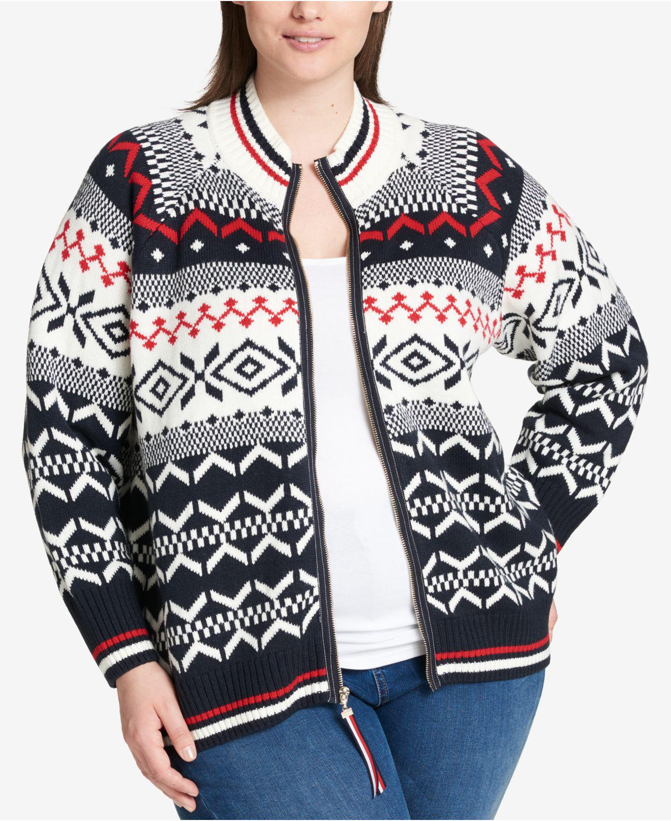 Tommy hilfiger Plus Size Fair Isle Sweater in Blue | Lyst