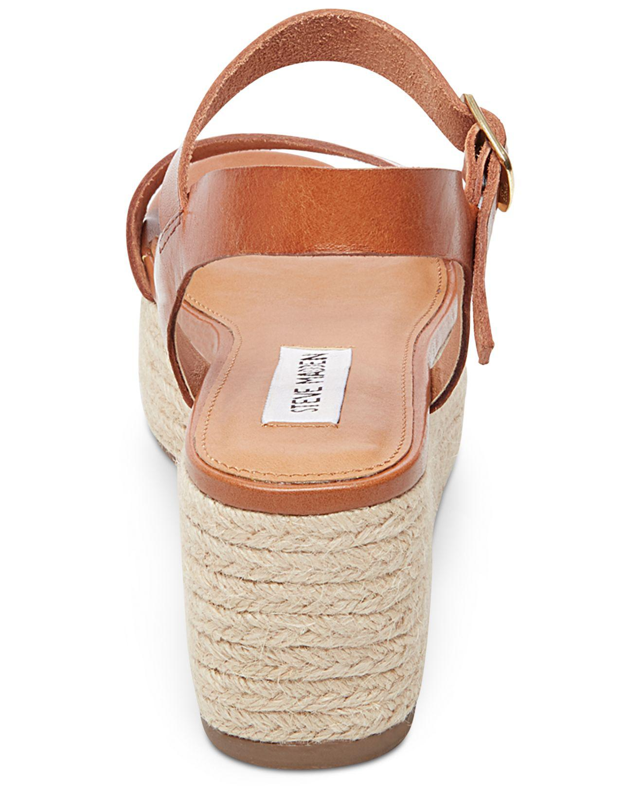 b56cb07be16 Lyst - Steve Madden Busy Espadrille Wedge Sandals in Brown