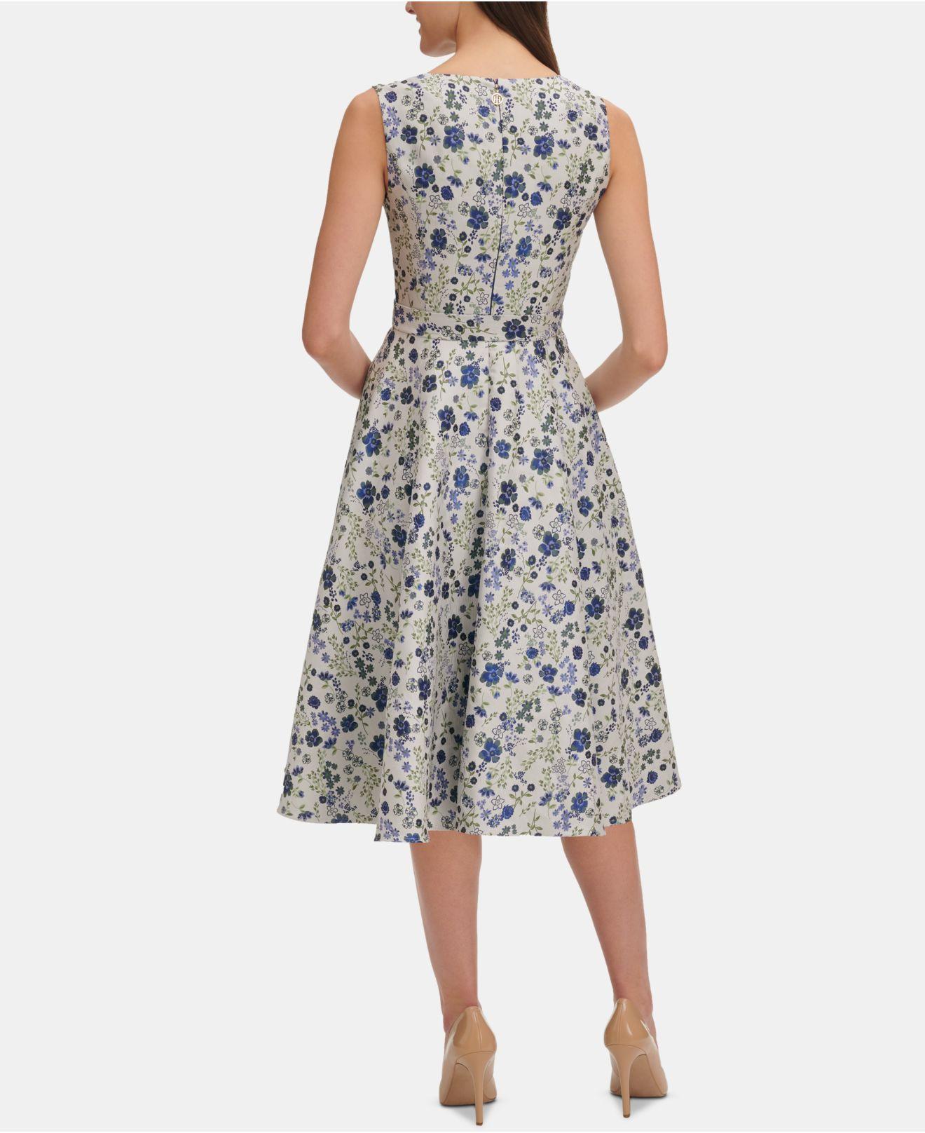 1f2e75ef6003 Lyst - Tommy Hilfiger Floral Jacquard Fit & Flare Dress in Blue