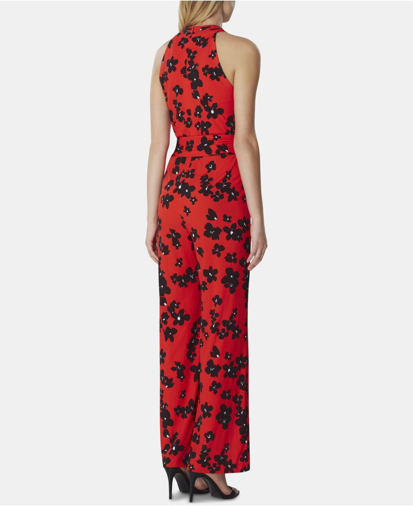1e7f78ad7d0a Lyst - Tahari Poppy-print Crossover Jumpsuit in Red