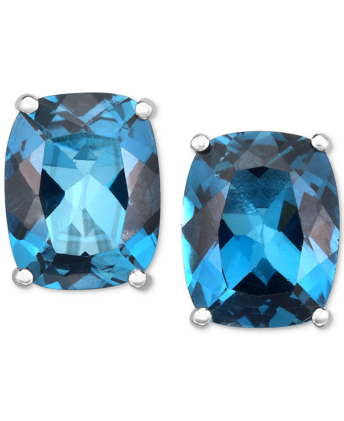 f3c6603e6dd1 Lyst - Macy S London Blue Topaz Stud Earrings (6 Ct. T.w.) In 14k ...