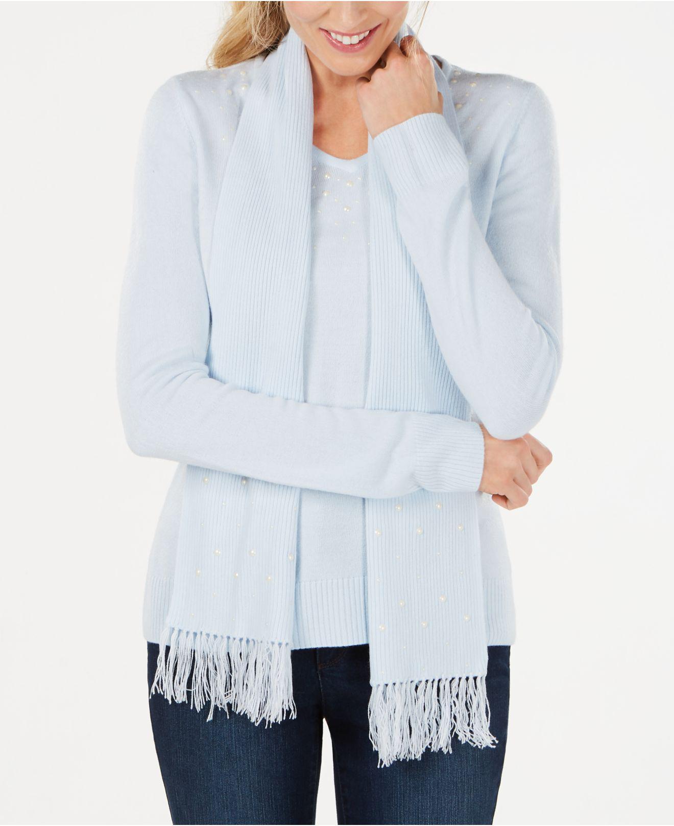 Lyst Karen Scott Luxsoft Studded Detachable Scarf Sweater Created