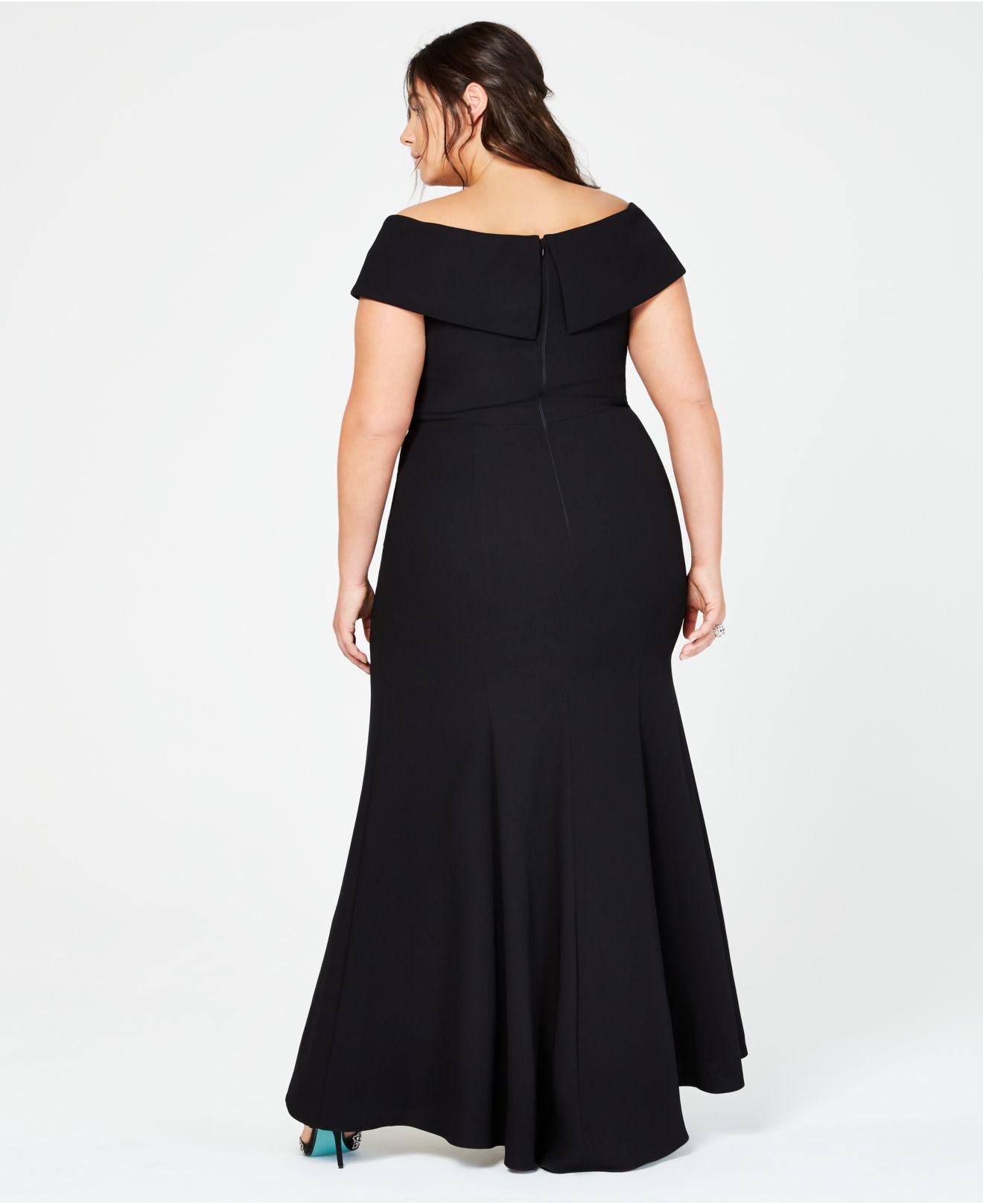 d96d2ae07d9 Lyst - Xscape Plus Size Off-the-shoulder Slit Gown in Black