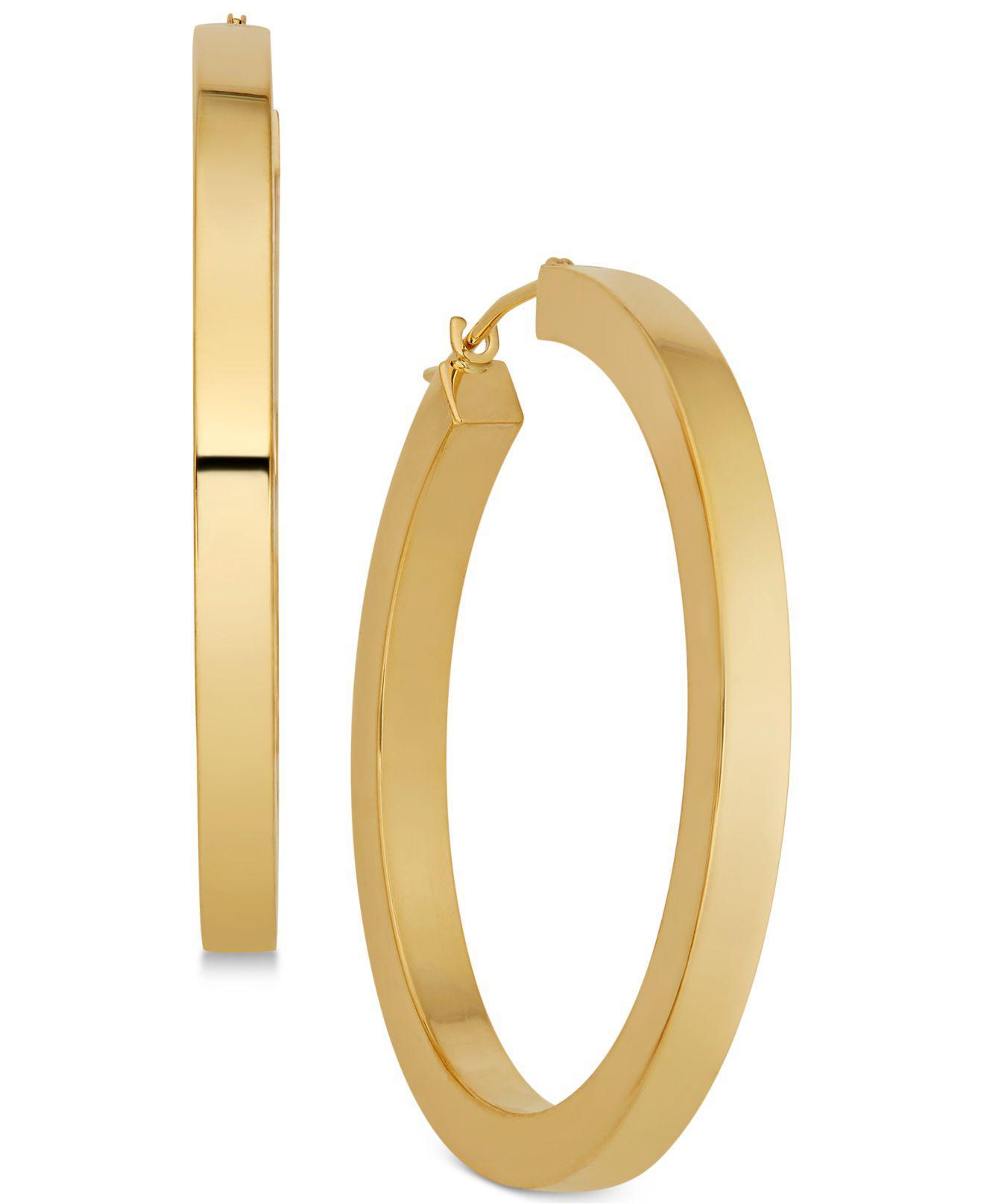 Macy S Women Metallic Polished Flat Edge Hoop Earrings In 14k Gold