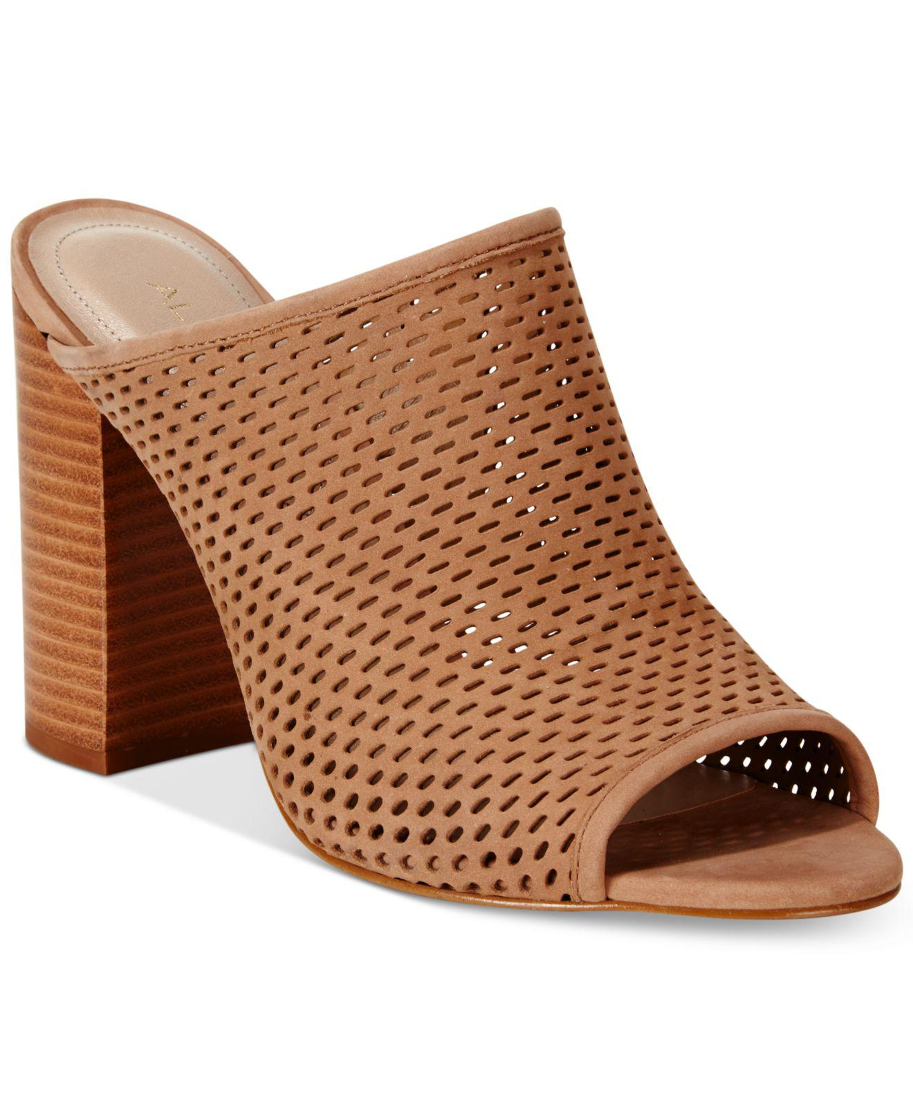 8a4b201d22c Lyst - ALDO Women s Thiasa Peep-toe Mules in Brown