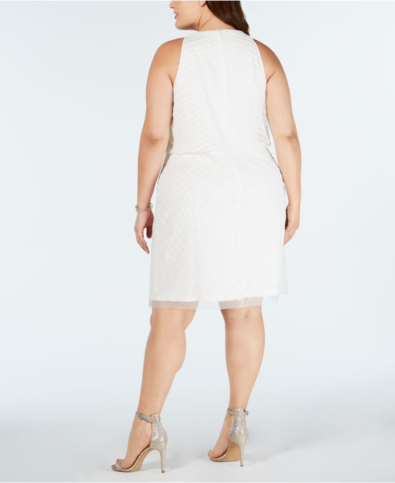 c9fe15e99d Lyst - Adrianna Papell Plus Size Embellished Blouson Sheath Dress in White
