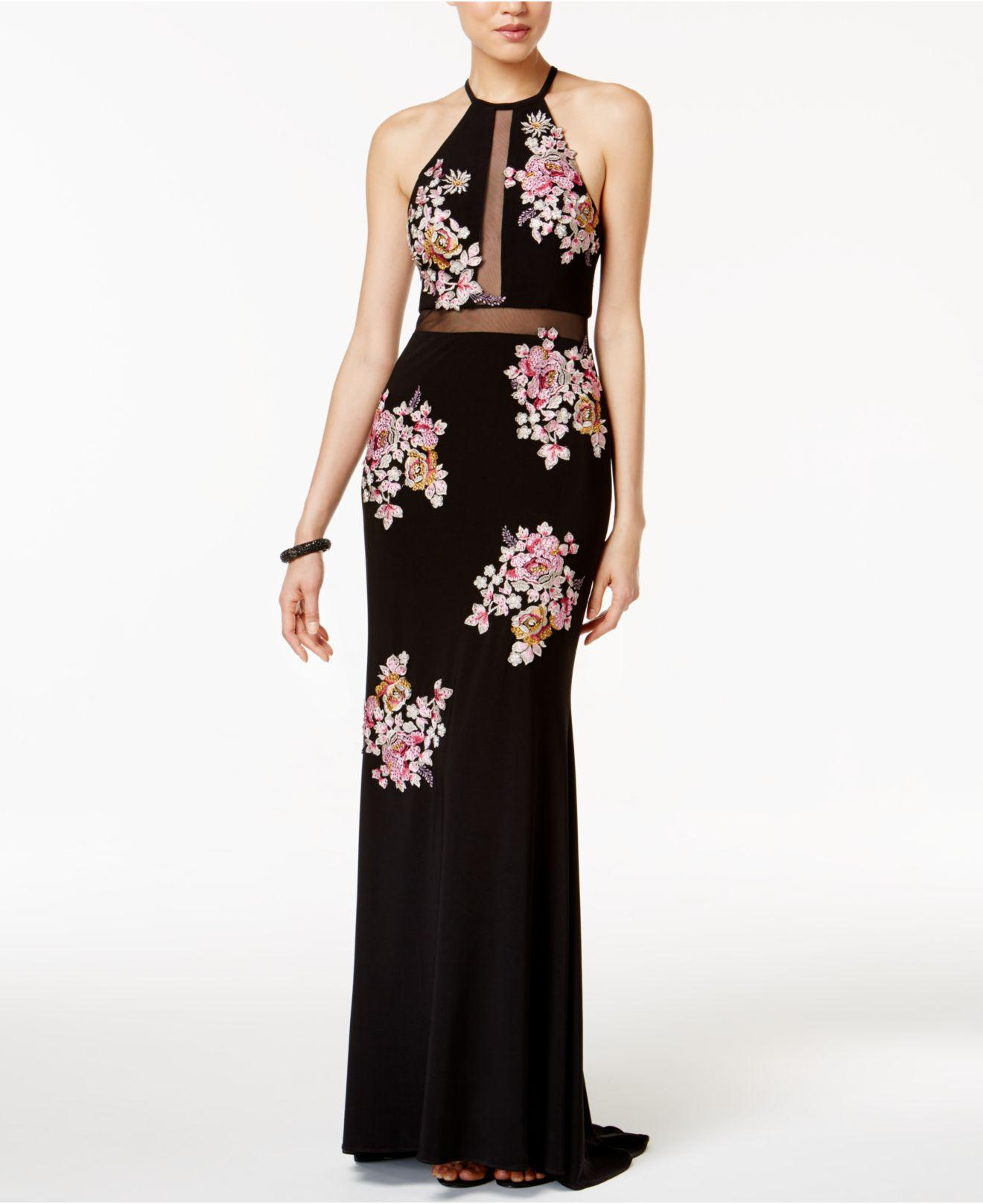 Lyst - Xscape Embroidered Open-back Illusion Halter Gown in Black