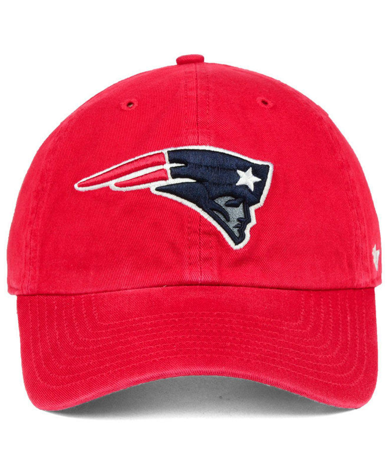 9a4c0edd2c3fa Lyst - 47 Brand New England Patriots Clean Up Strapback Cap in Red for Men