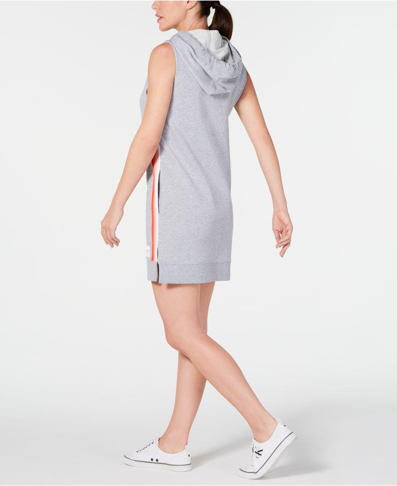 05497d275 Lyst - Calvin Klein Performance Striped Sleeveless Hoodie Dress