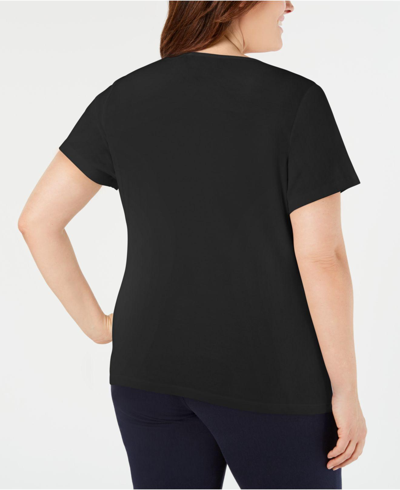 a2a1c9ddc4b Lyst - Karen Scott Plus Size Studded Scoop-neck Top