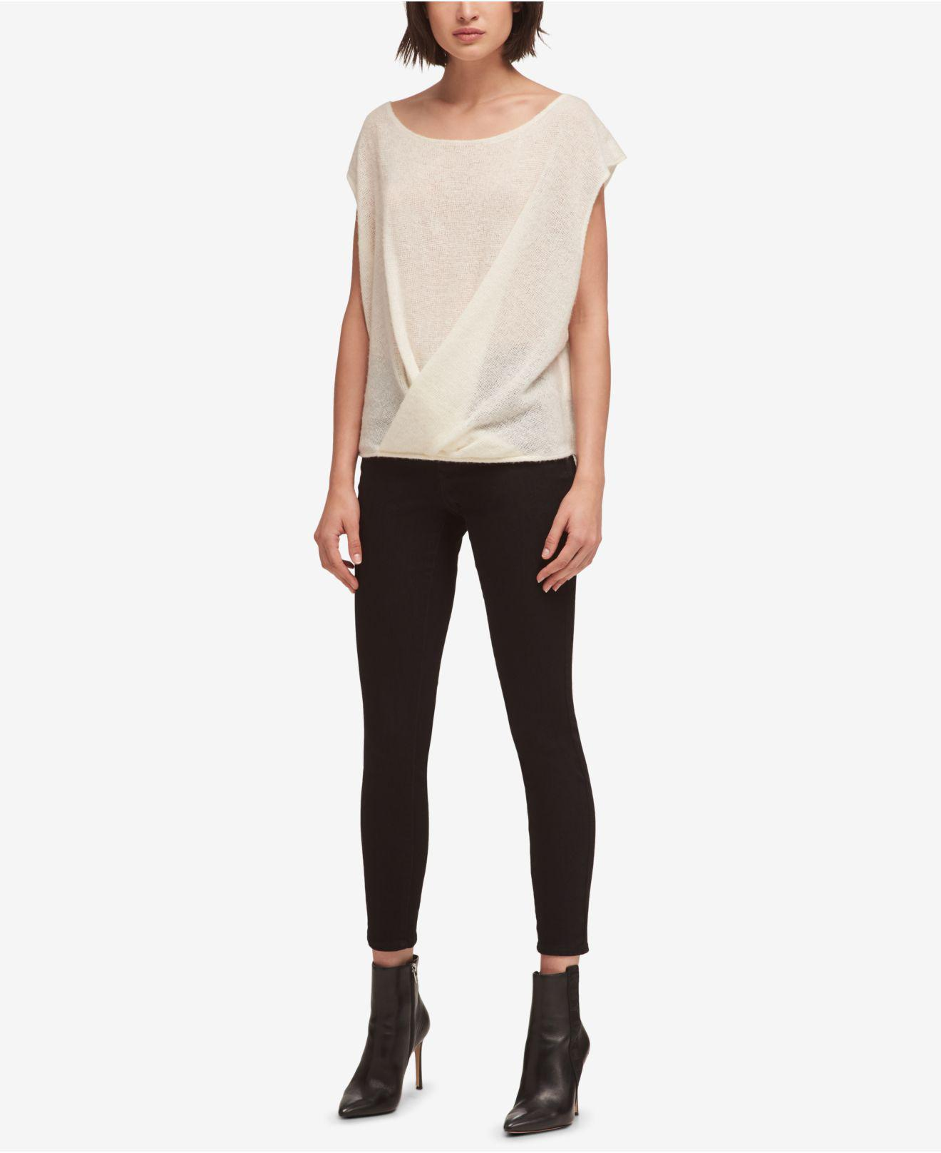 636b43106b DKNY. Women s White Drape-front Sweater