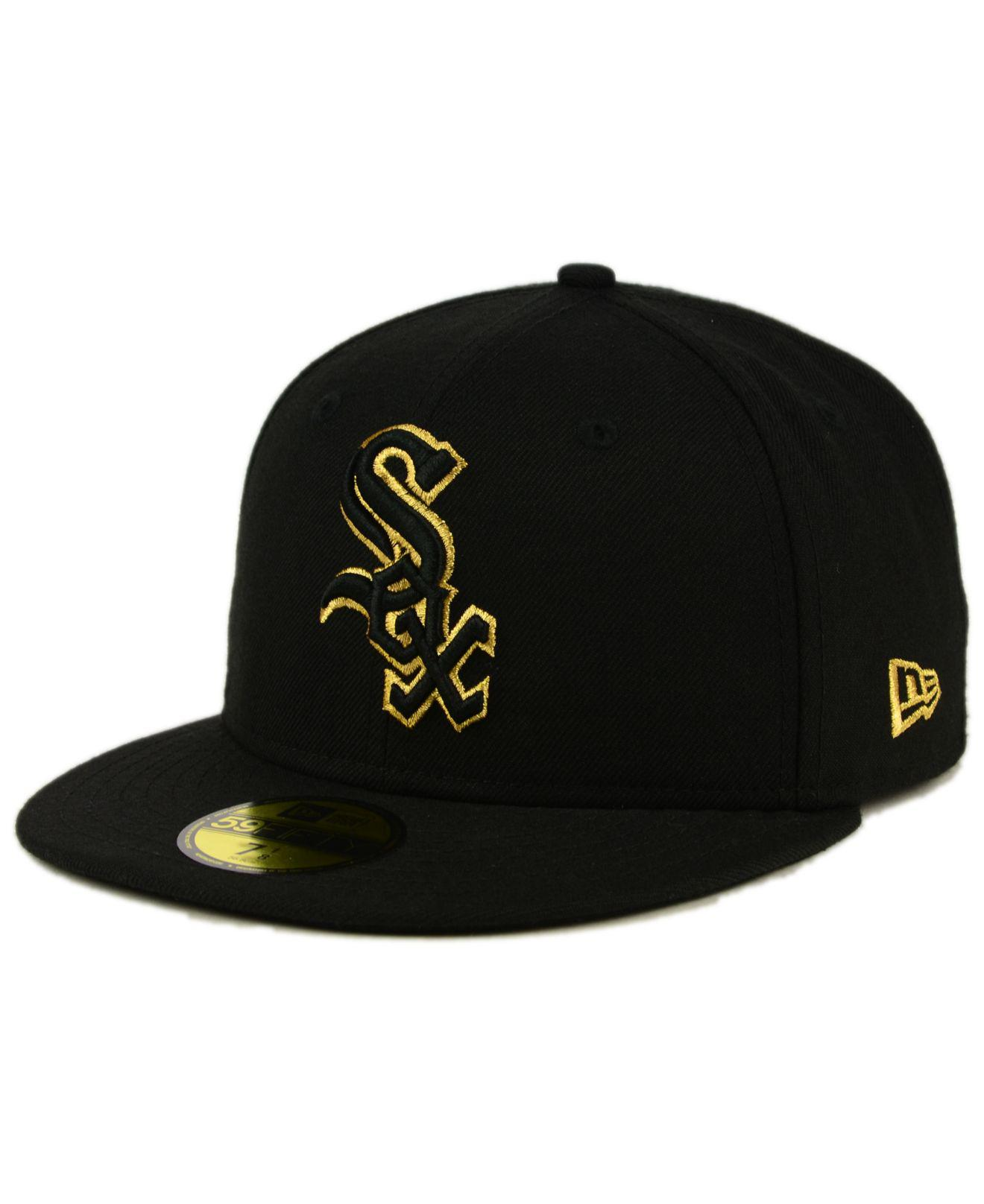 1d9e21d1210 Lyst - Ktz Chicago White Sox Black On Metallic Gold 59fifty Fitted ...
