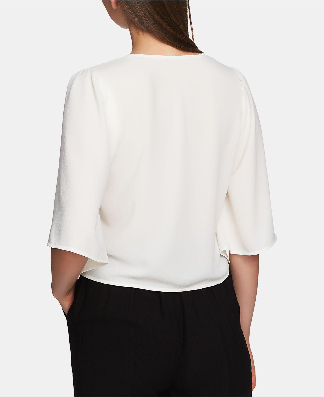31f708bdf6fbf Lyst - 1.STATE Flounce-sleeve Tie-front Top in White