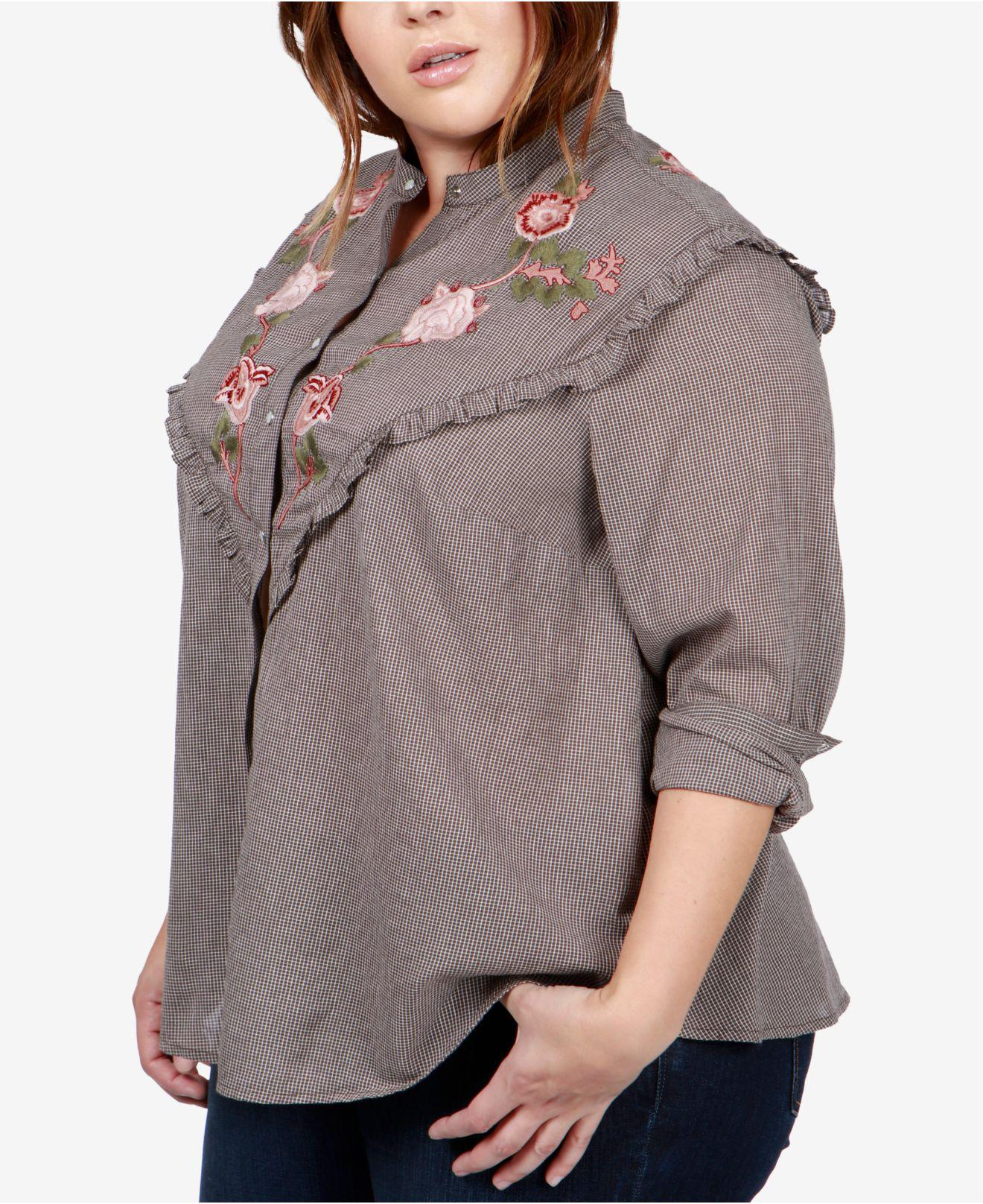 592810613729a Lyst - Lucky Brand Trendy Plus Size Cotton Embroidered Western Shirt ...