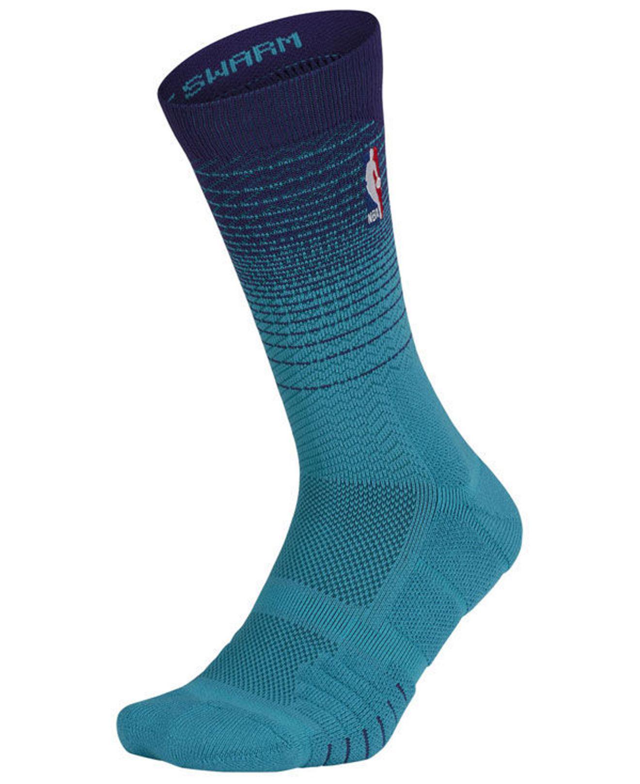 online retailer ab890 88cfc Nike. Men s Blue Charlotte Hornets Elite Quick Crew Socks