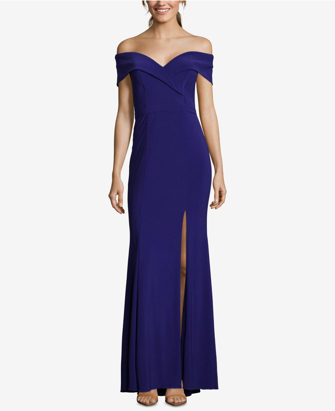 1b08019b Lyst - Xscape Petite Off-the-shoulder Evening Gown in Blue