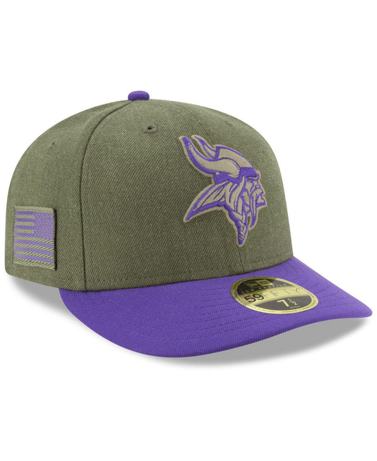 KTZ. Men s Green Minnesota Vikings Salute To Service Low Profile 59fifty Fitted  Cap 2018 059a6b09b