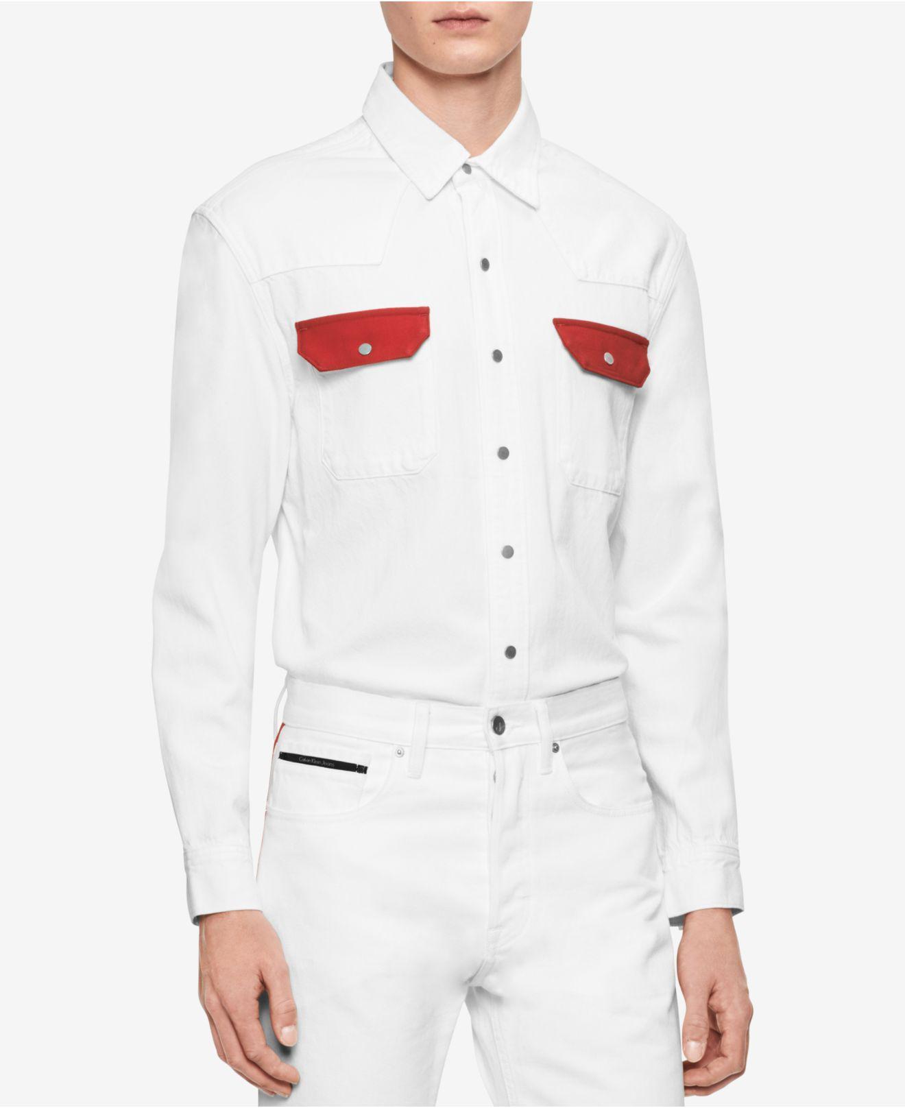 f9619c7f2b Lyst - Calvin Klein Archive Contrast Pocket Western Shirt in White ...