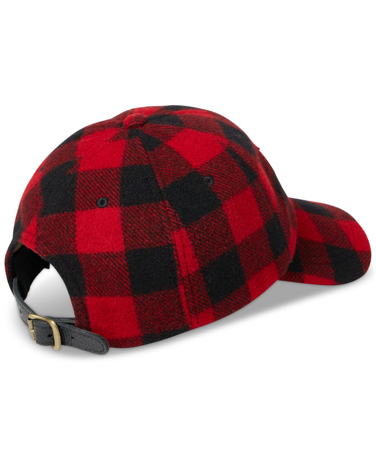 724c4d62128 Lyst - Polo Ralph Lauren Buffalo Check Wool-blend Cap in Red for Men