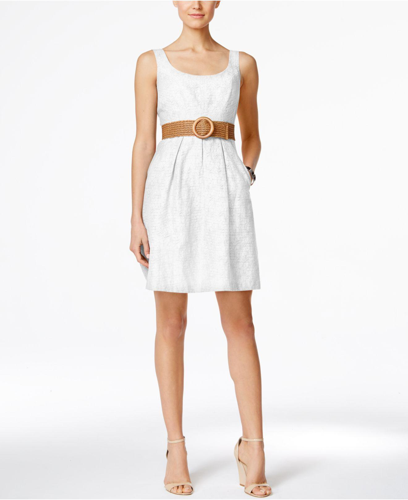 Lyst Nine West Belted Burnout Fit Amp Flare Dress In White