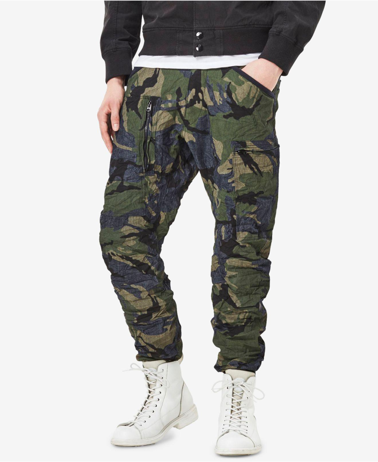 lyst g star raw men 39 s powell 3d tapered fit camouflage cuffed jeans in green for men. Black Bedroom Furniture Sets. Home Design Ideas