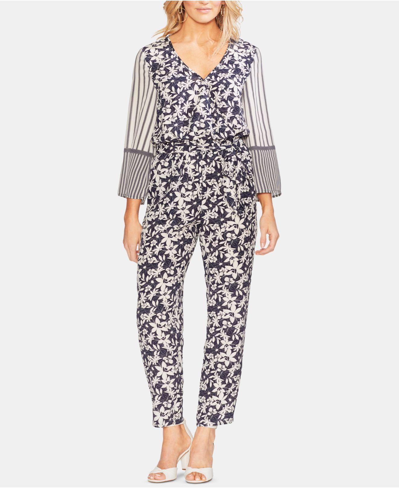 be895ce9d11 Lyst - Vince Camuto Printed Tie-waist Jumpsuit in Blue - Save 25%