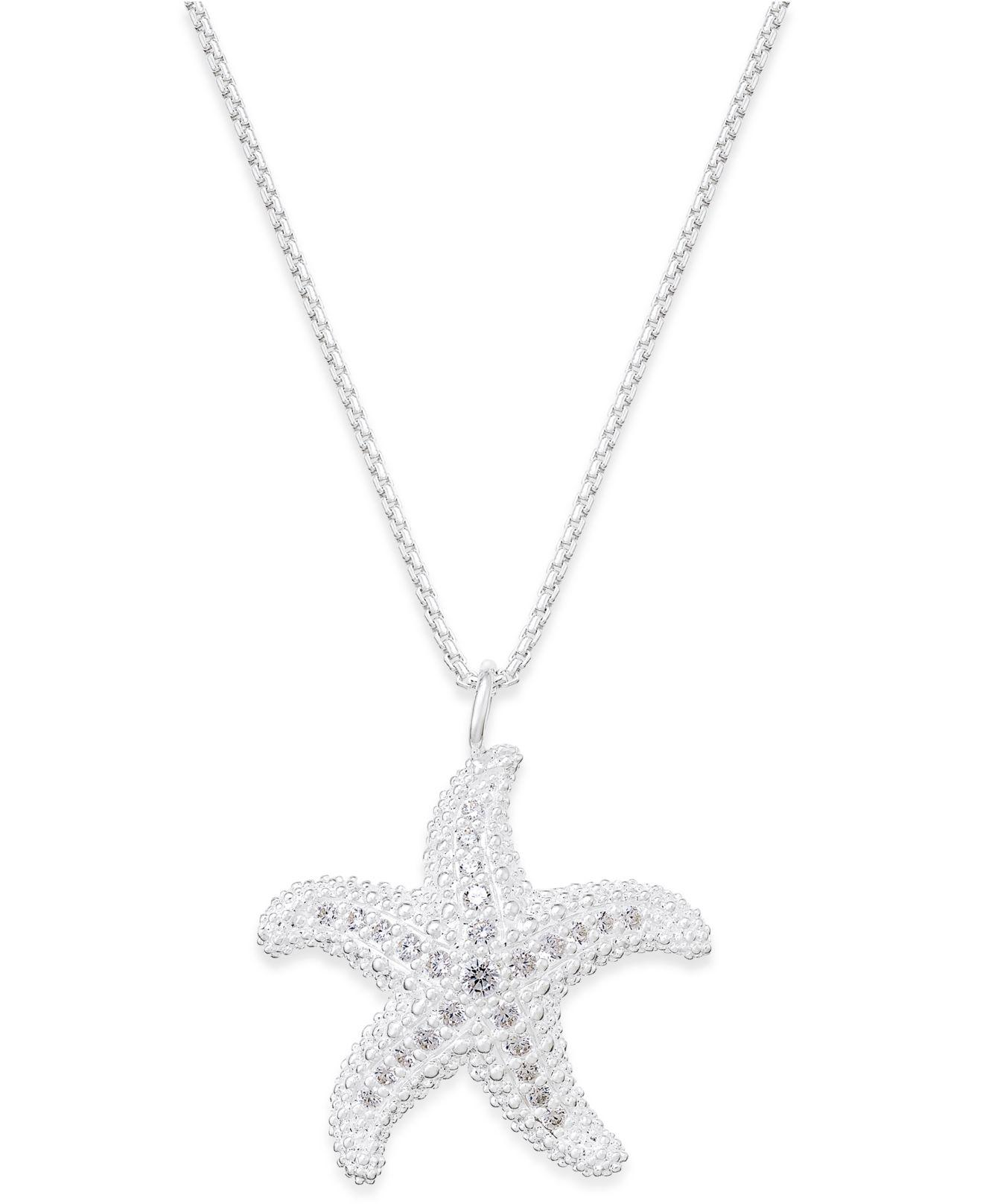Lyst thomas sabo crystal starfish pendant necklace in sterling gallery aloadofball Gallery