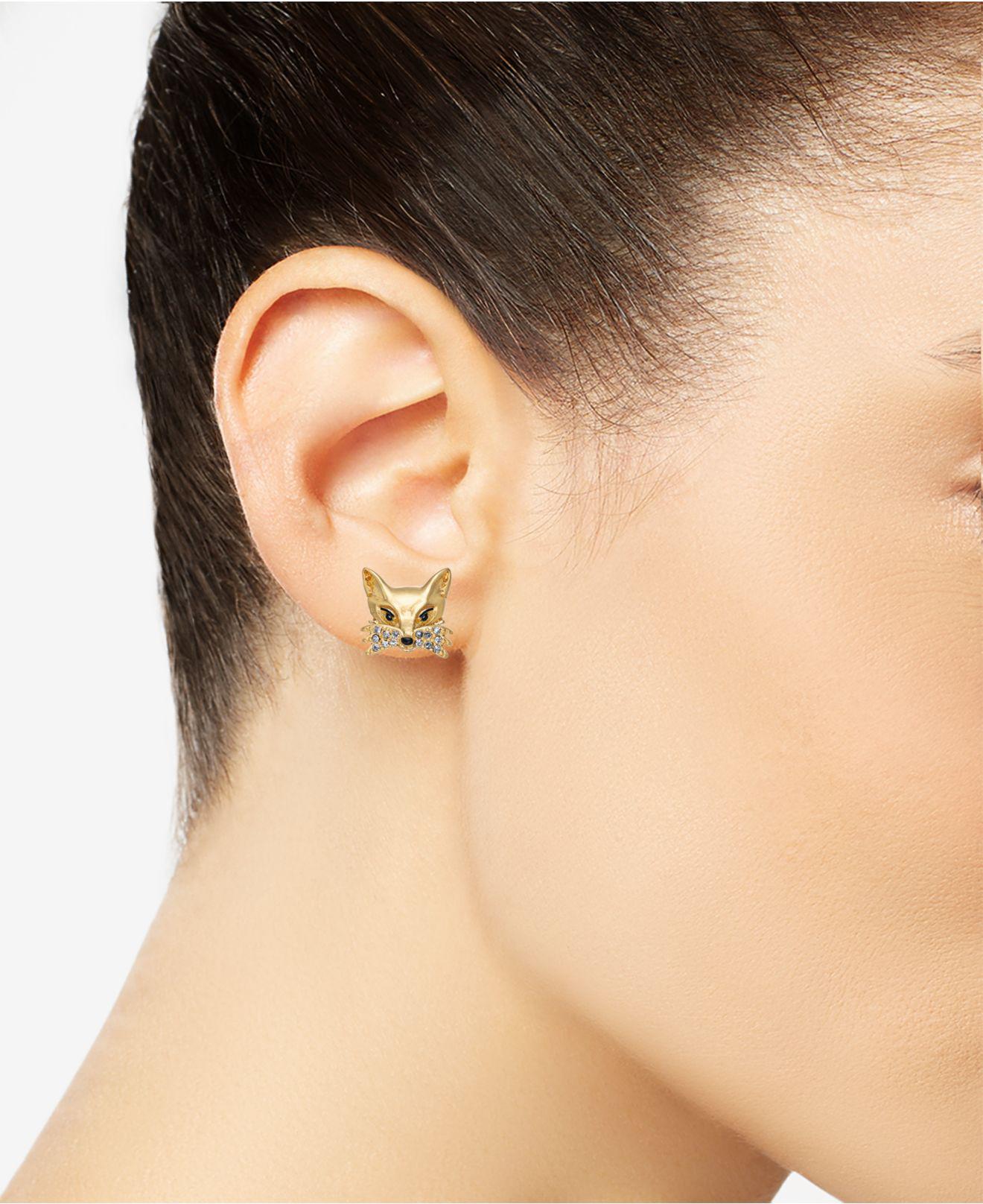 c1063b5d9f011 Kate Spade Gold-tone Pavé Fox Stud Earrings in Metallic - Lyst