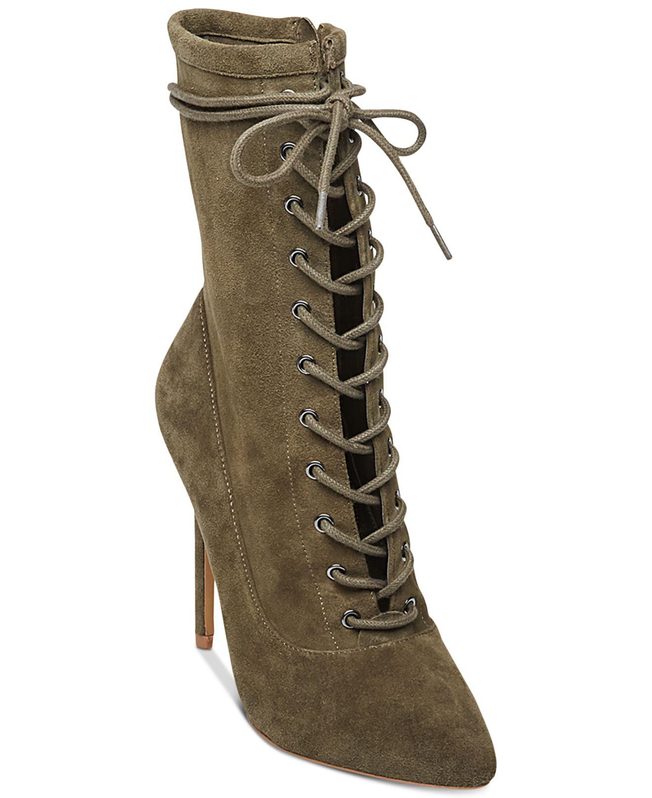80b063a170a Steve Madden Women s Satisfied Lace-up Stiletto Booties in Green - Lyst
