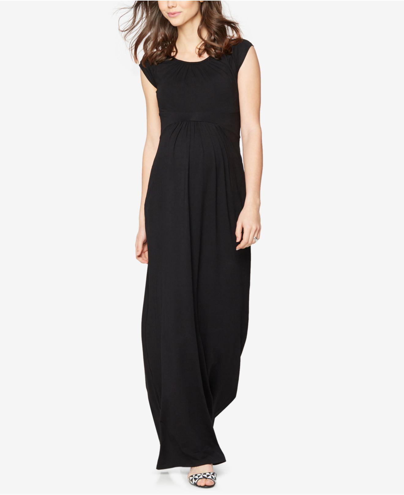 6c8a8af3f7060 Lyst - Isabella Oliver Maternity Cap-sleeve Maxi Dress in Black