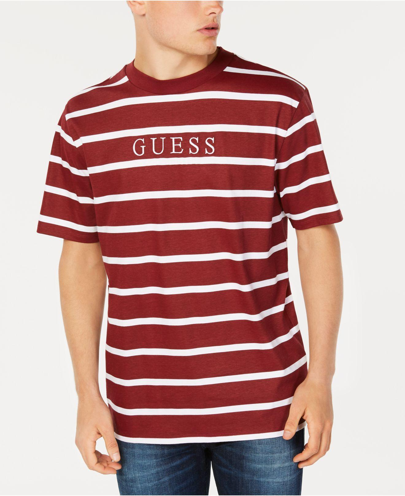 cbfcf0ccf48b Guess Jeans Shirt Striped Red - raveitsafe
