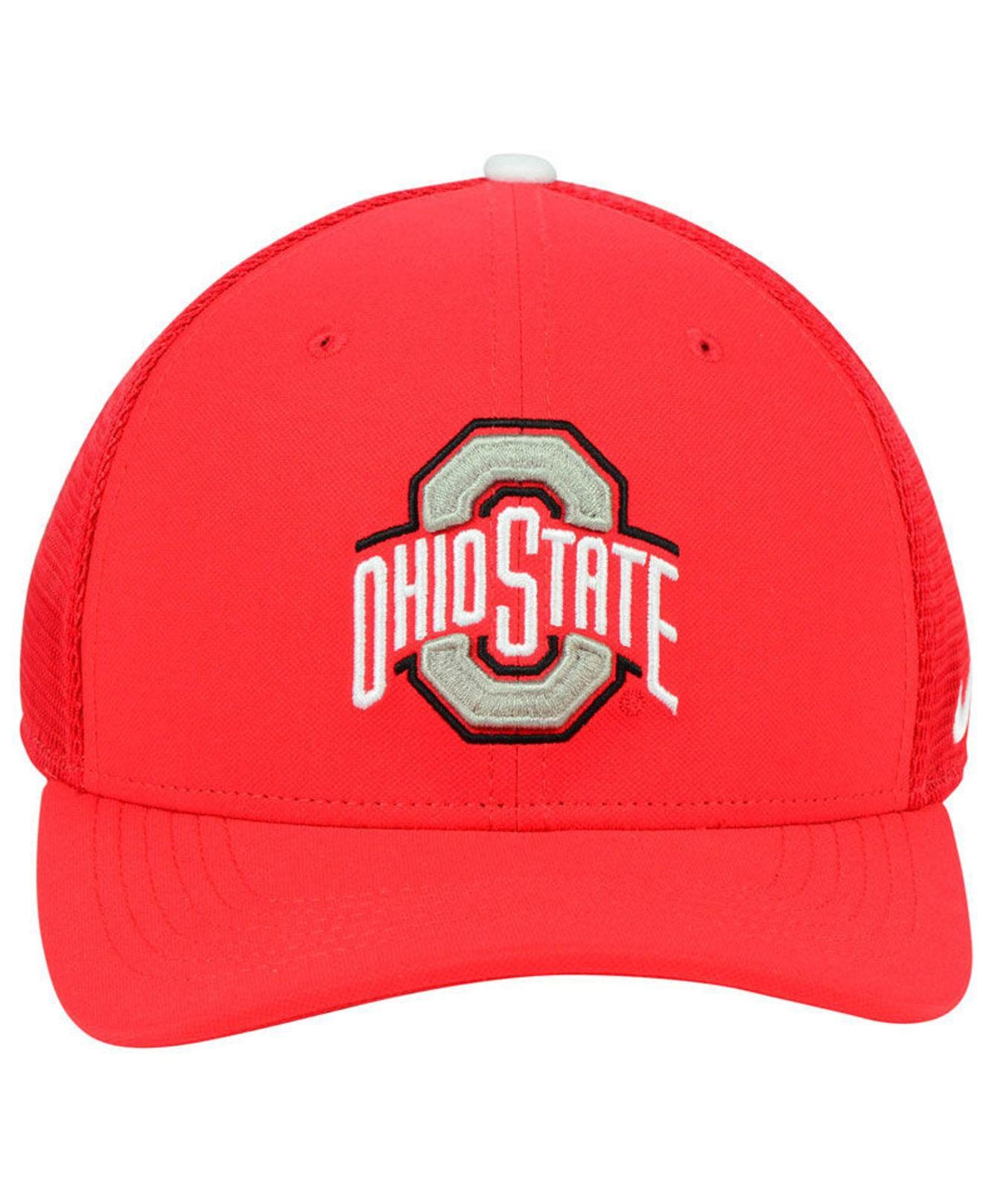 81e76826e67 ... authentic lyst nike ohio state buckeyes aerobill swoosh cap in red for  men d68ec dbba5