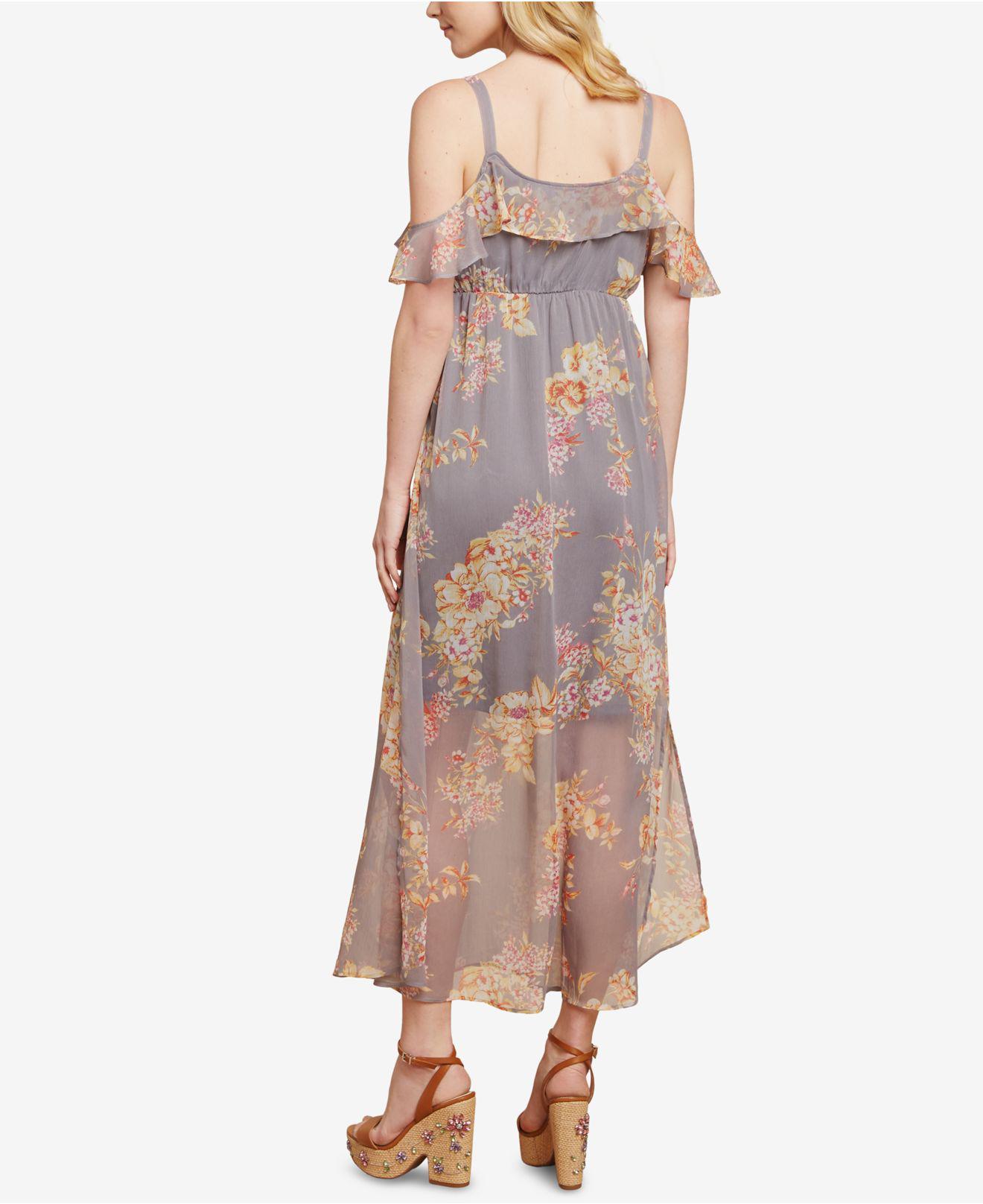 d0facf6e1eb Jessica Simpson Sleeveless Ruffled Maternity Maxi Dress in Gray - Lyst