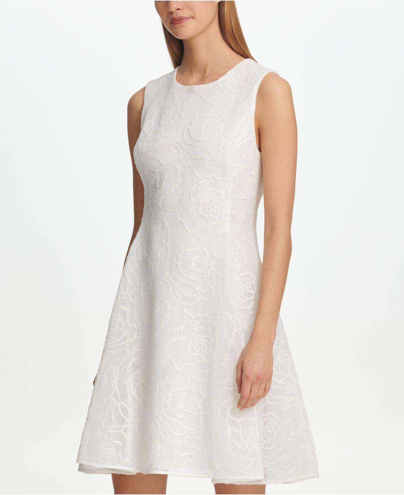 9103004774 DKNY - White Textured Mesh Fit   Flare Dress - Lyst. View fullscreen
