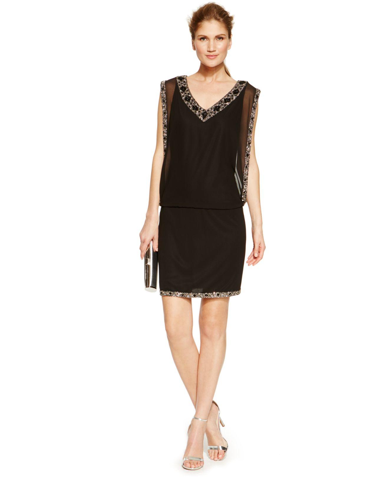 J Kara Chiffon Bead Trim Cocktail Dress In Black Lyst