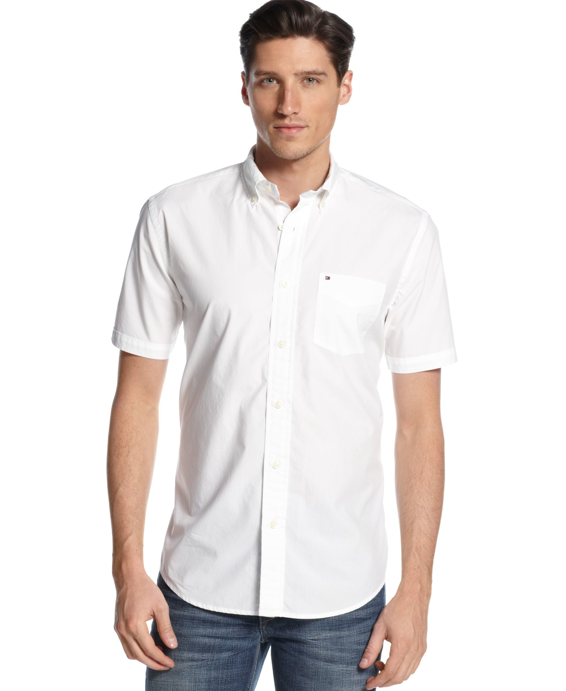 White Short Sleeve Button Down Collar Shirt Custom Shirt