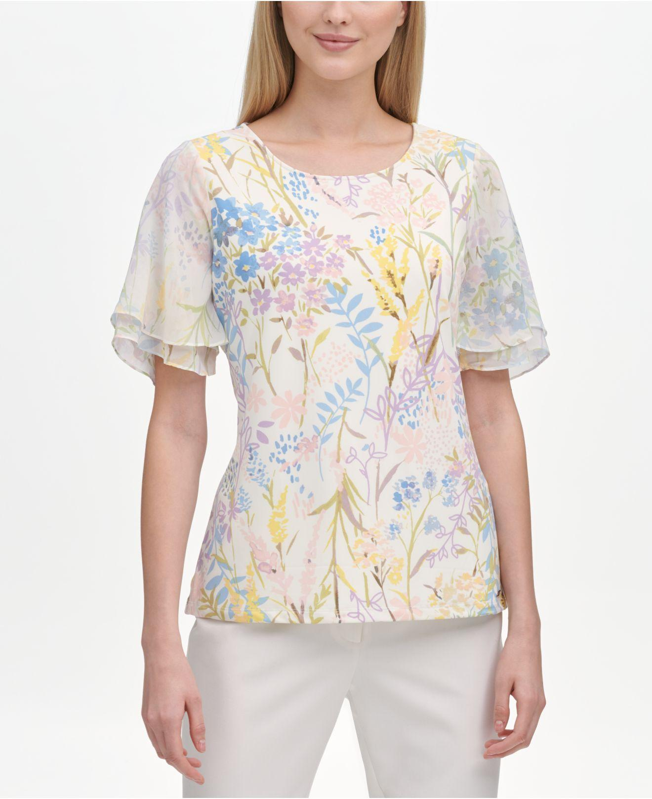 4f4845892 Lyst - Calvin Klein Floral-print Top in White