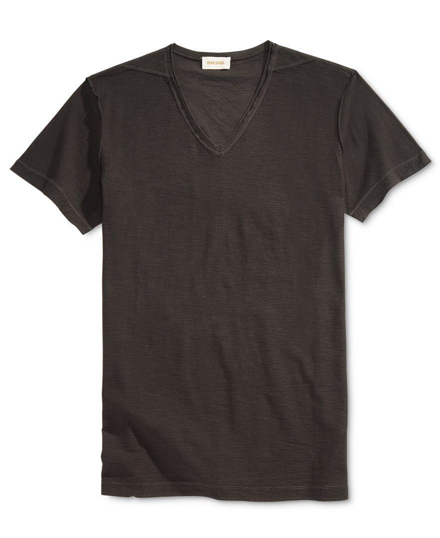 Diesel men 39 s tossik v neck t shirt in black for men lyst for Mens diesel v neck t shirts
