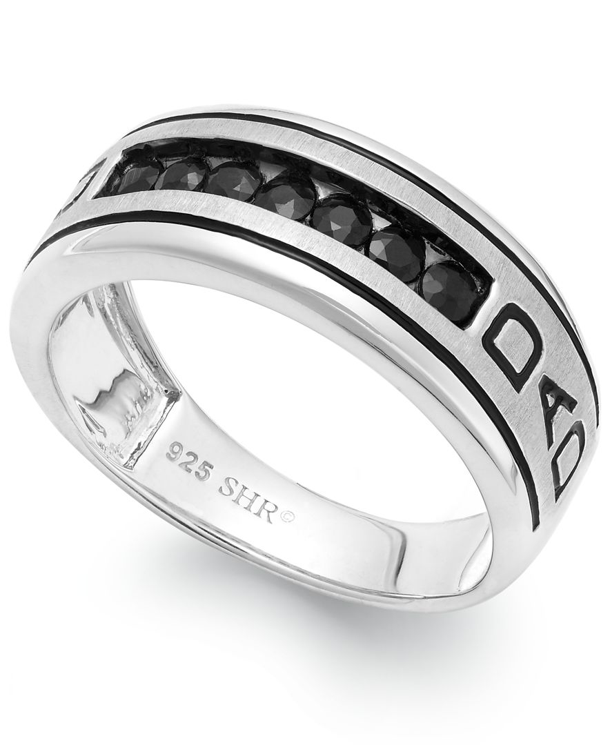 macy 39 s men 39 s black sapphire engraved dad ring in sterling. Black Bedroom Furniture Sets. Home Design Ideas
