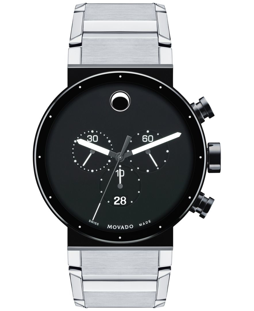 movado s swiss chronograph sapphire synergy stainless