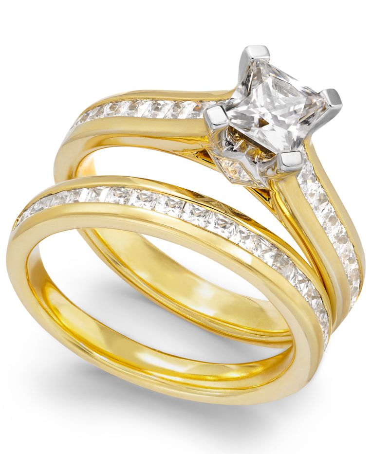 Macy s Certified Diamond Engagement Bridal Set In 14k Gold 2 Ct T w i