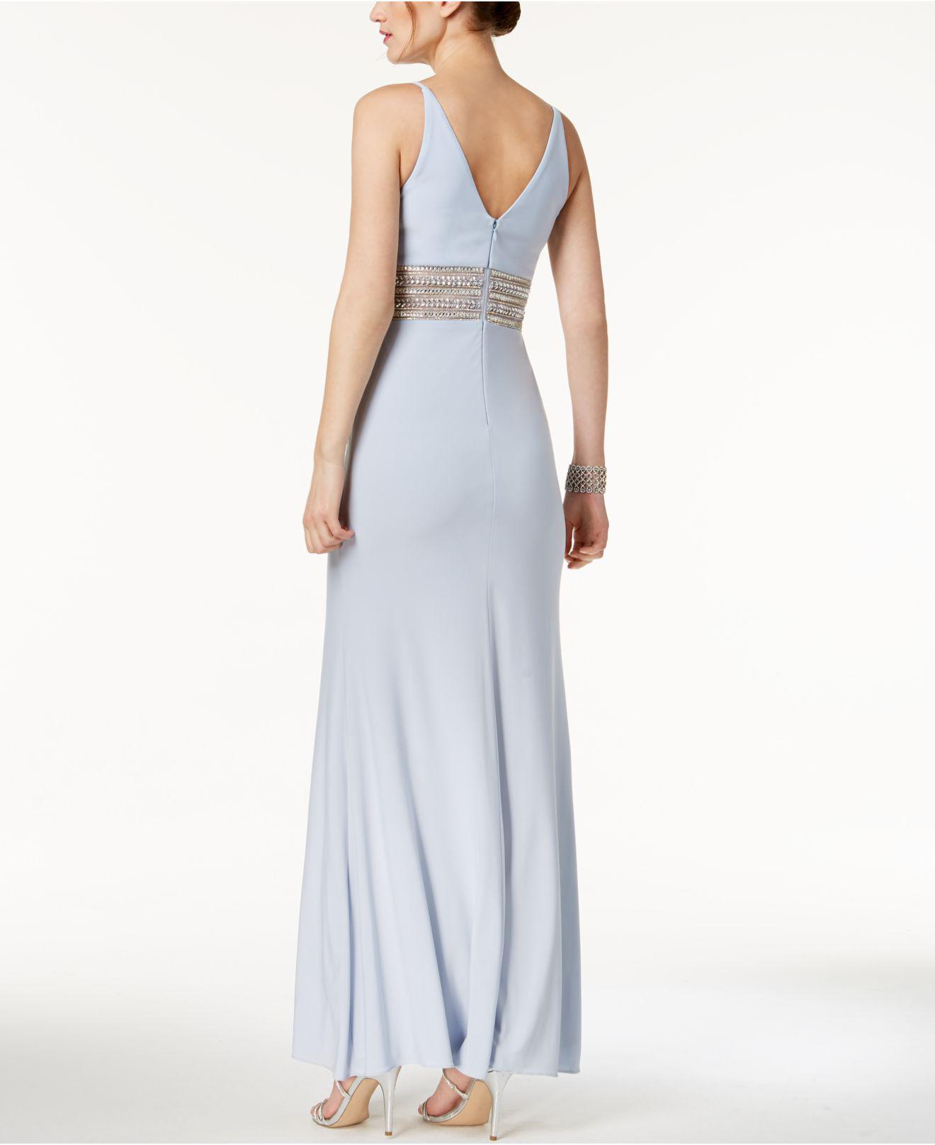 Lyst - Xscape Beaded Plunge Gown in Blue
