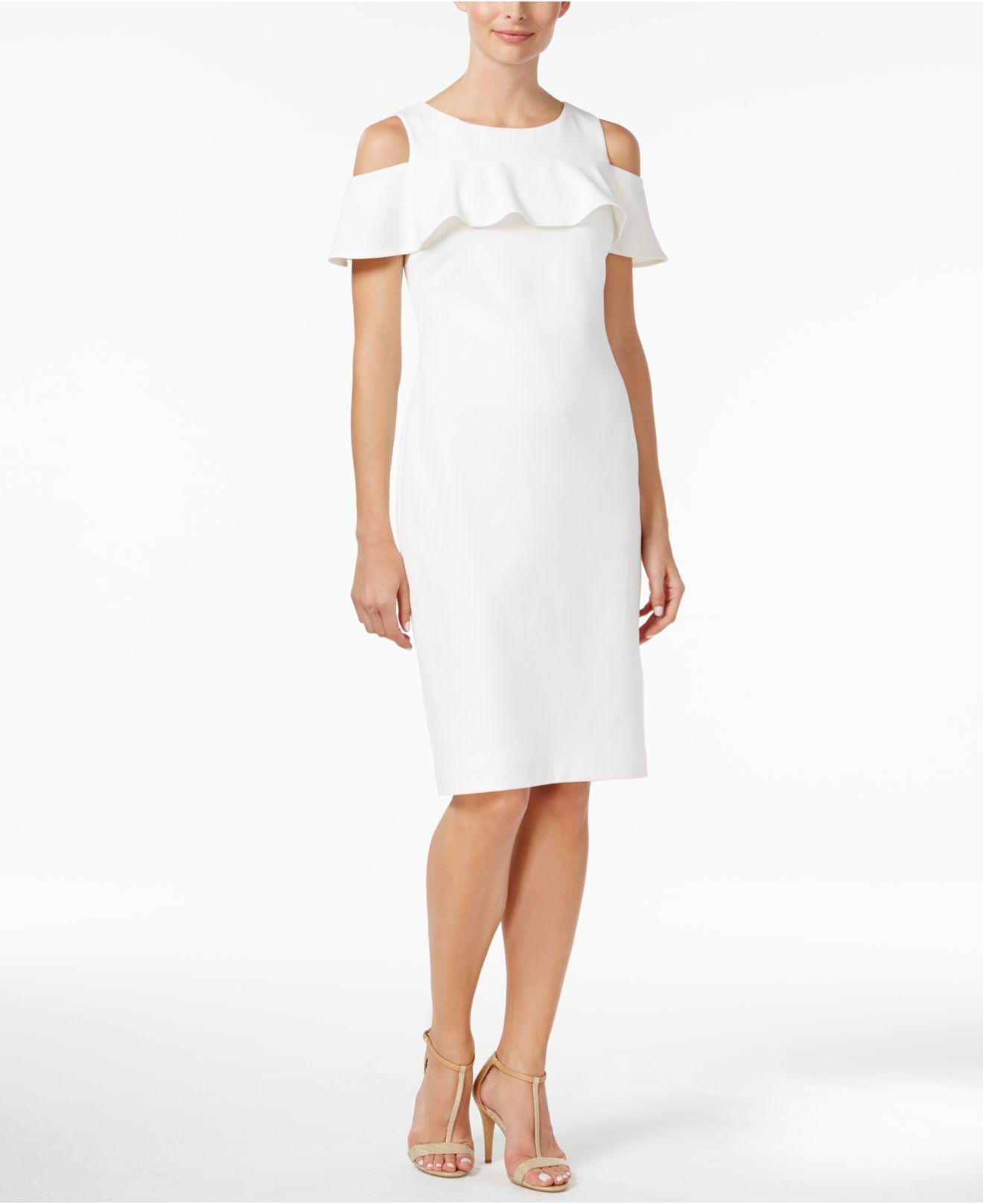 7f73a4adb40 Calvin Klein Cold-shoulder Ruffle Sheath Dress in White - Lyst