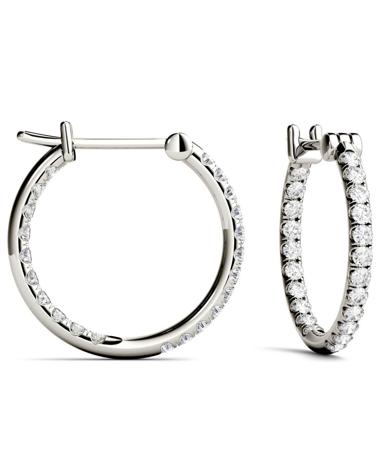 Lyst Charles Colvard Moissanite Hoop Earrings 3 8 Ct T W Diamond Equivalent In 14k White Gold Metallic