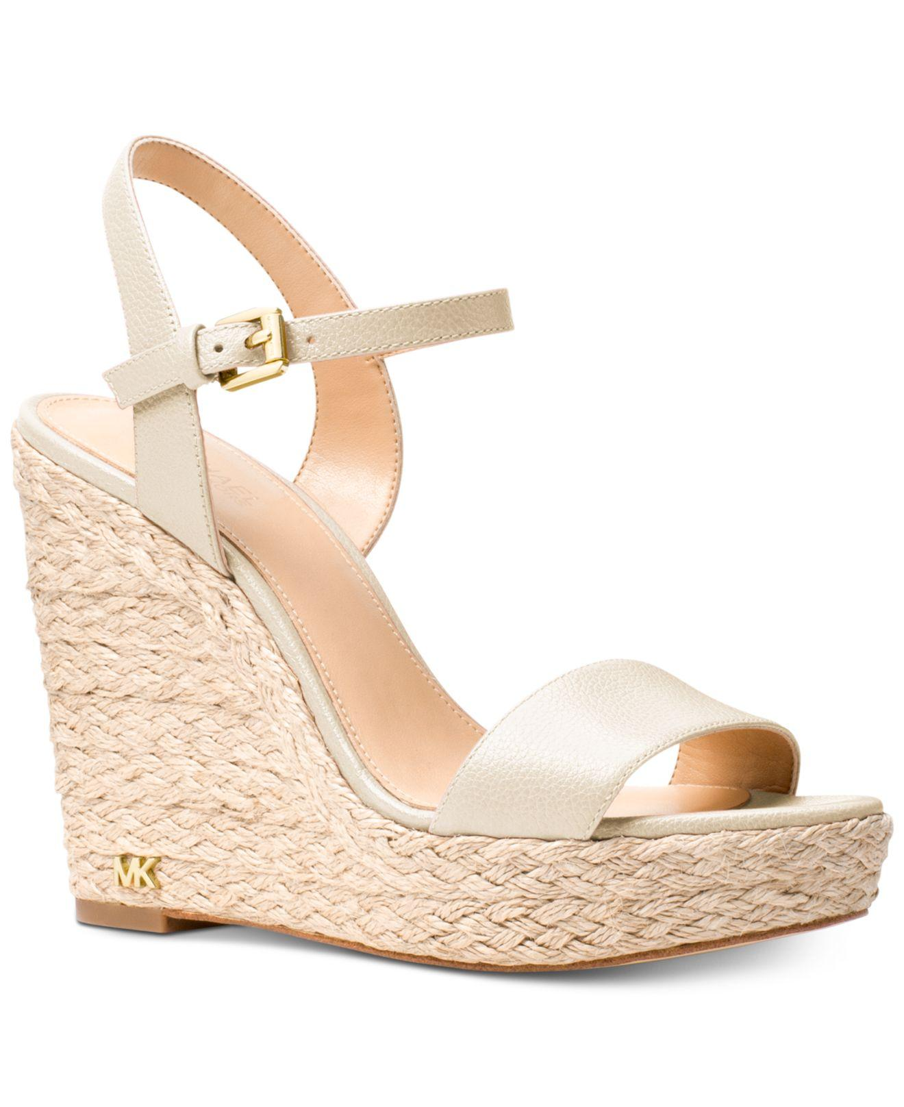 0deb80daabb Michael Kors Michael Jill Espadrille Wedge Sandals in Natural - Lyst