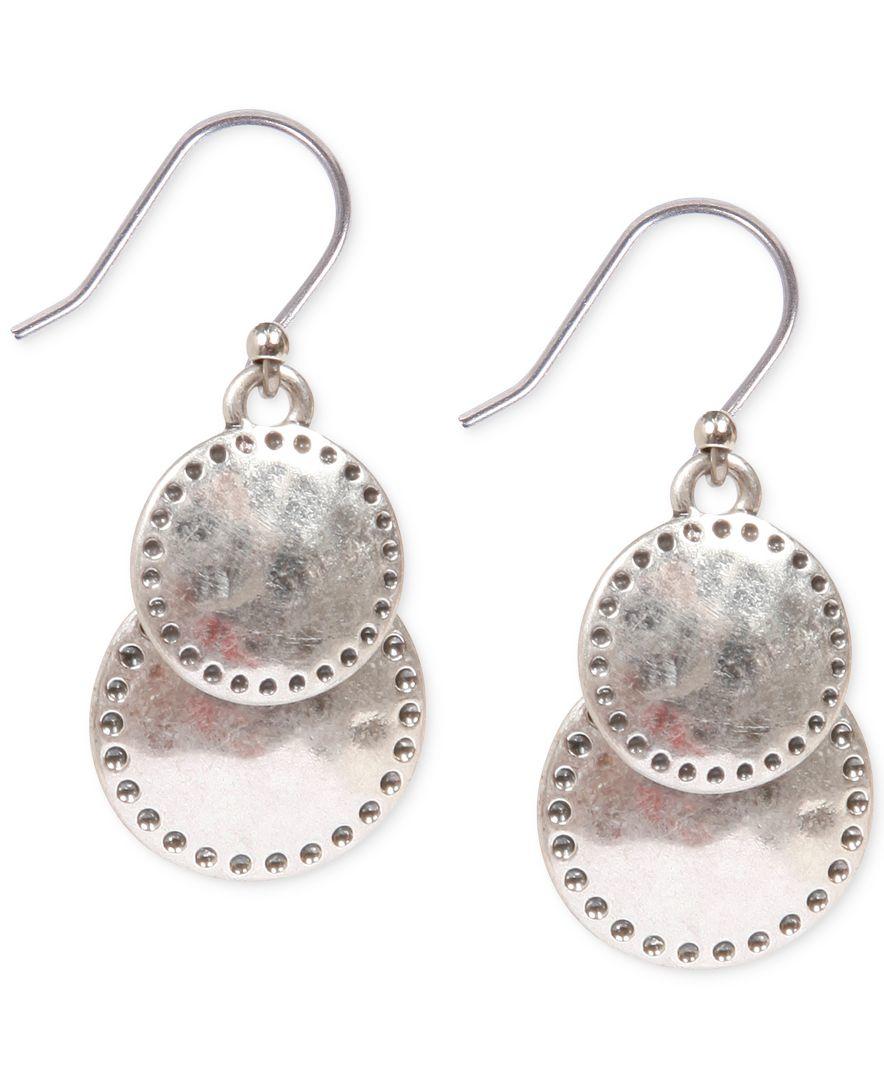 Lucky brand silver tone double drop earrings in metallic for Macy s lucky brand jewelry