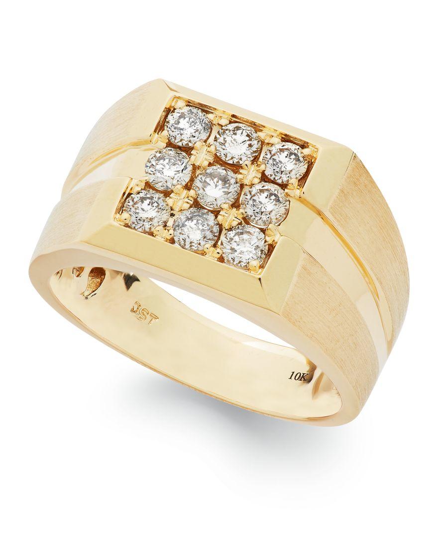 Macy s Men s Diamond Square Ring In 10k Gold 1 Ct T w in Metallic