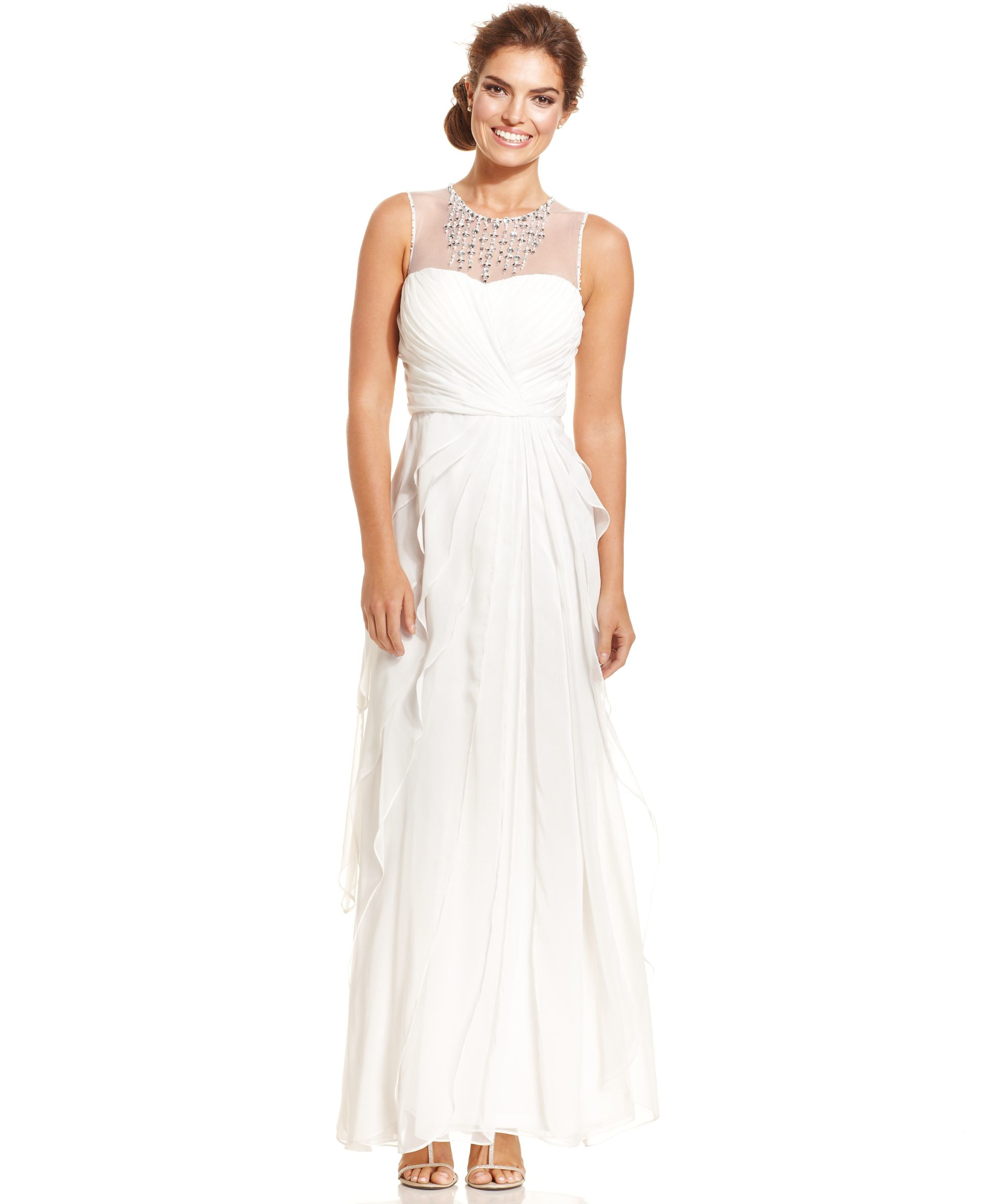 Lyst - Adrianna Papell Embellished Tiered Chiffon Gown in White