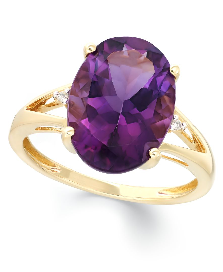 Macy s Amethyst 5 Ct T w And Diamond Accent Ring In 14k Gold in Metal